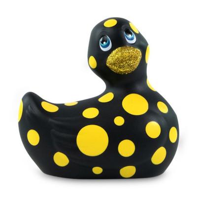 Черный вибратор-уточка I Rub My Duckie 2.0 Happiness в жёлтый горох