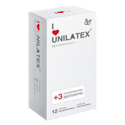 Ультратонкие презервативы Unilatex Ultra Thin - 12 шт. + 3 шт. в подарок