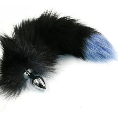 Серебристая анальная пробка с чёрно-голубым хвостом из натурального меха